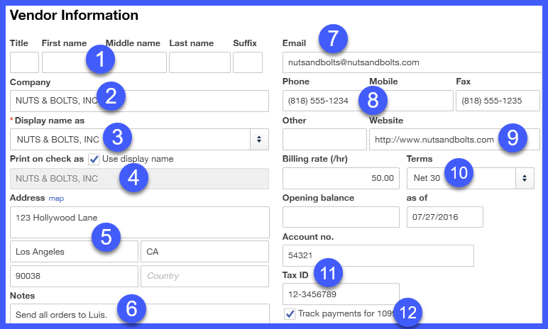 QuickBooks Online Vendor Information Setup Window