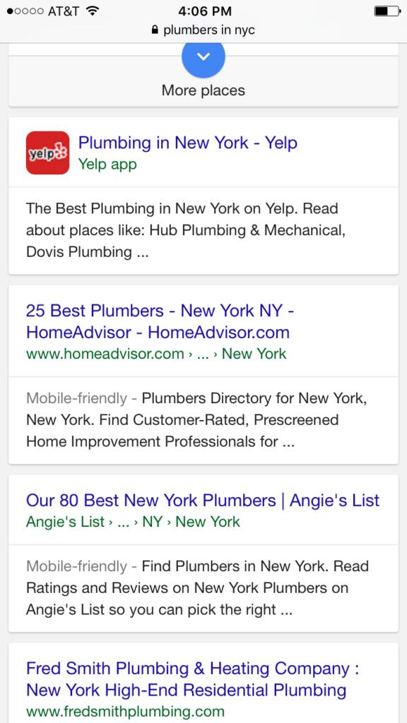 Plumbers google organic search