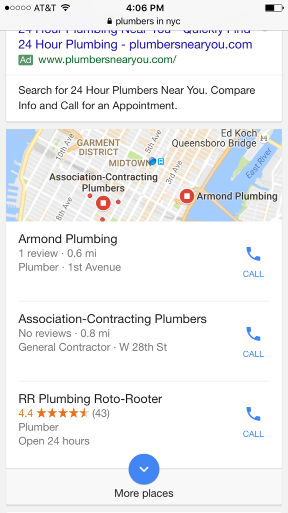 Plumbers local google search