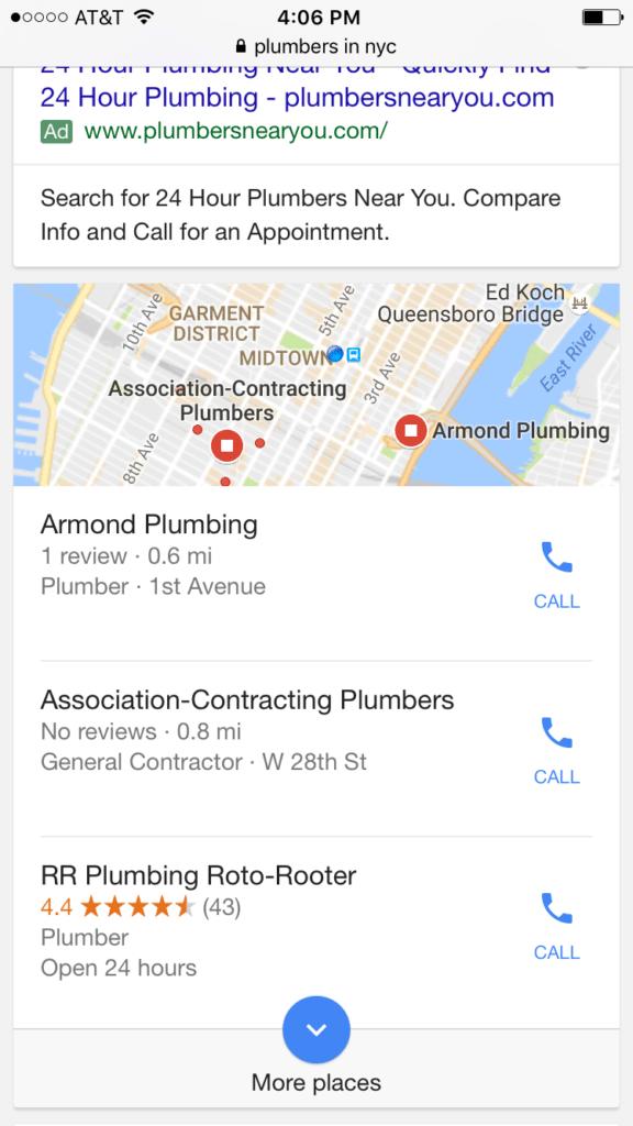 Plumbers local google search