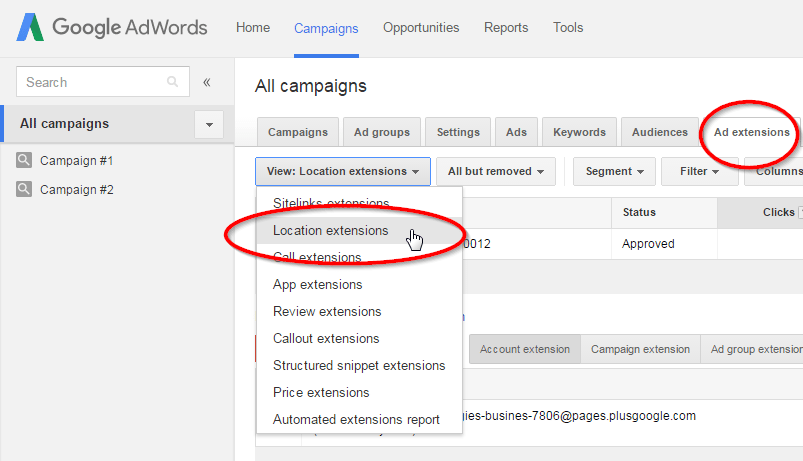 ad extensions to google adwords for GMB