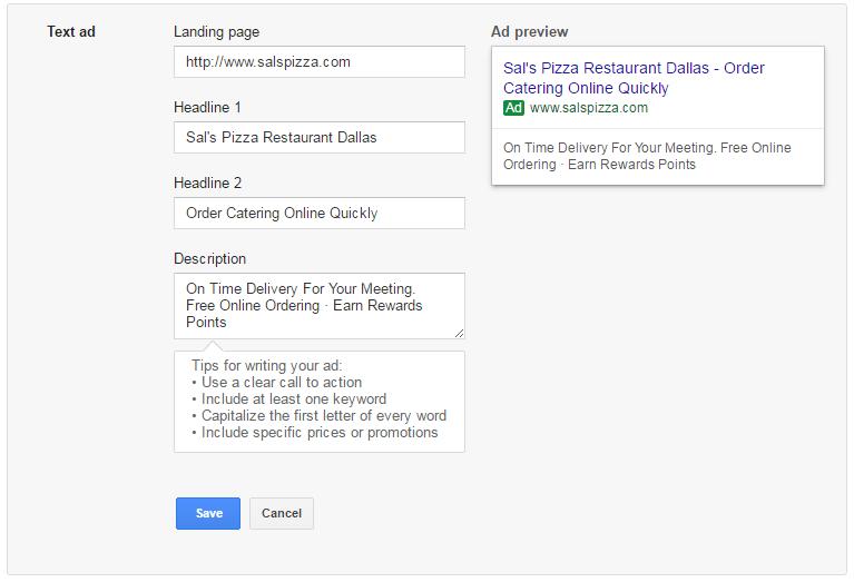 google adwords write ad
