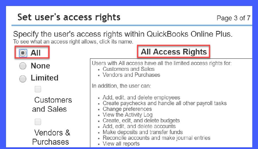 QuickBooks Online Set User's Access Rights Window