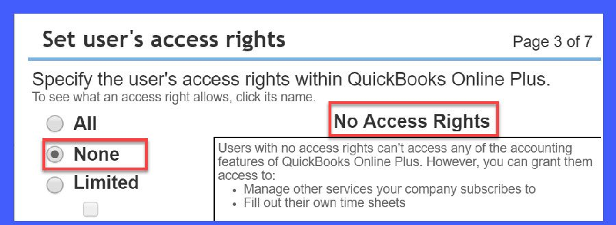 QuickBooks Online User Access = None