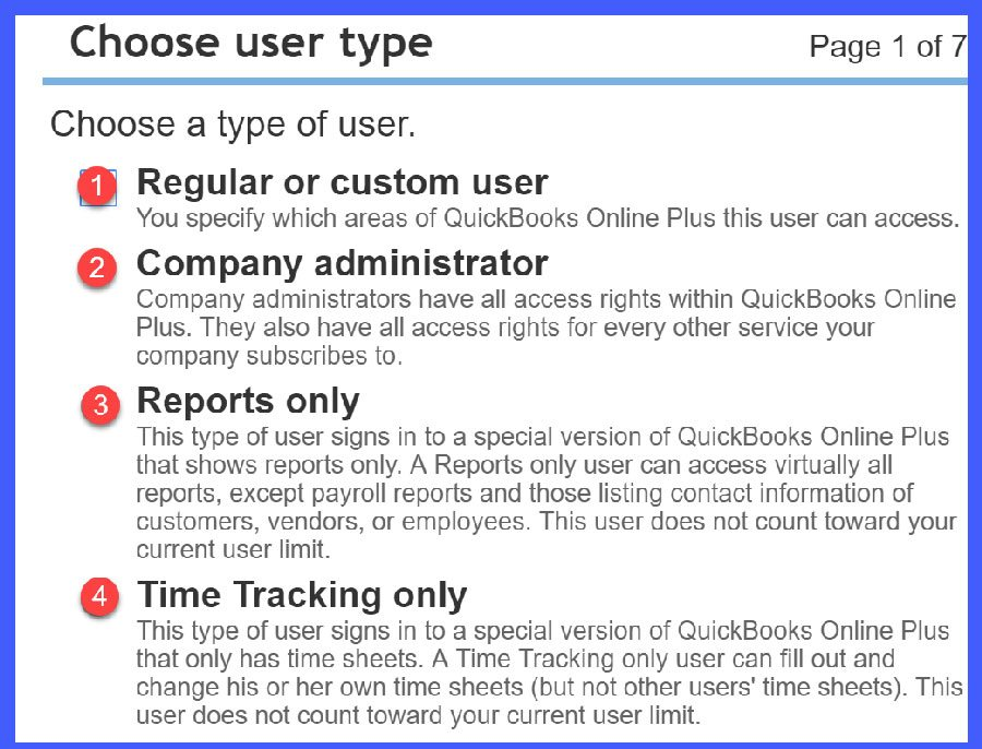 QuickBooks Online Choose User Type Window