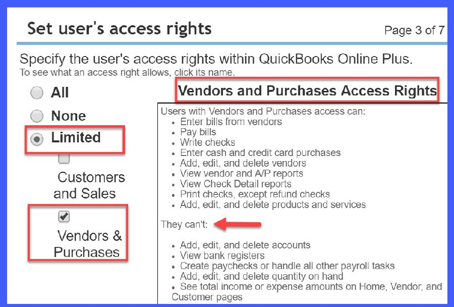 QuickBooks Online User Access = Limited w/ Vendors & Purchases