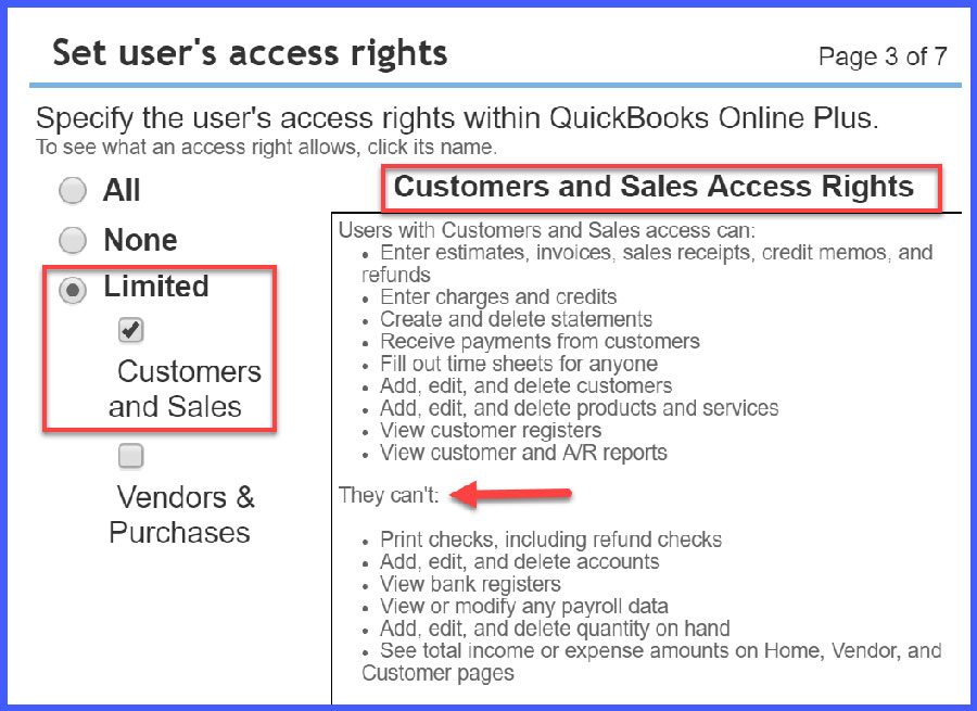 QuickBooks Online User Access = Limited