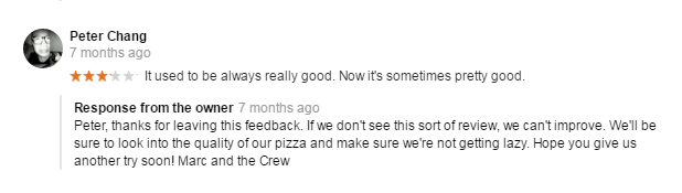 negative review Lucia Pizza GMB