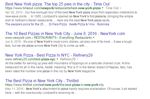 organic pizza google ranking