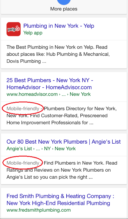 plumber mobile friendly google