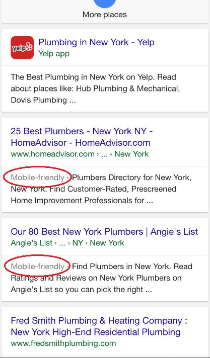 plumber mobile friendly google
