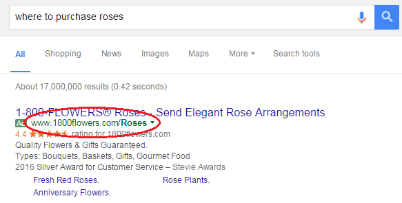 roses ad google search