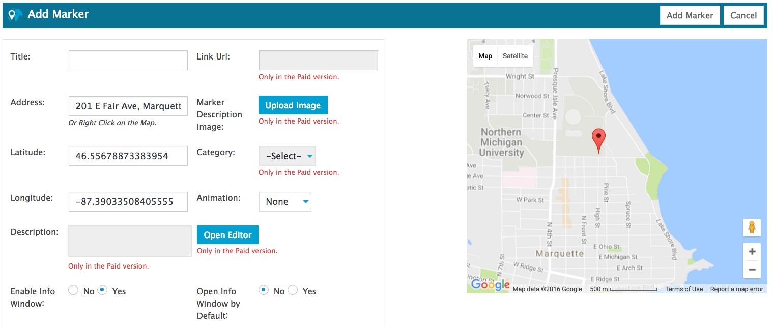 Bluehost Add Marker google map