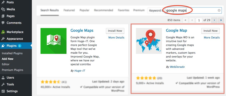 Bluehost Google Map