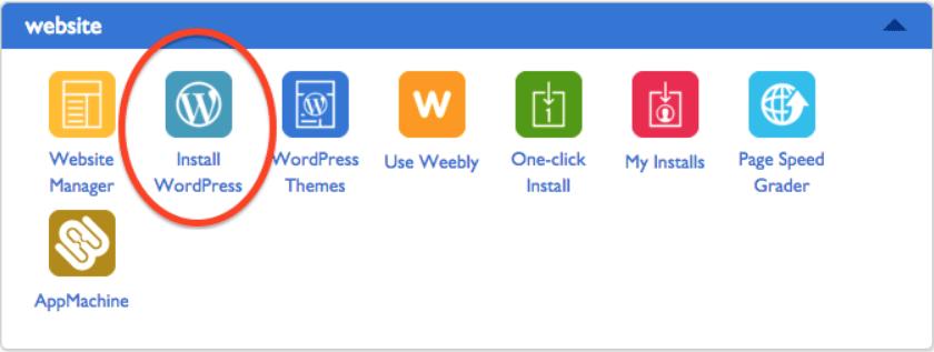 Bluehost Install WordPress Button