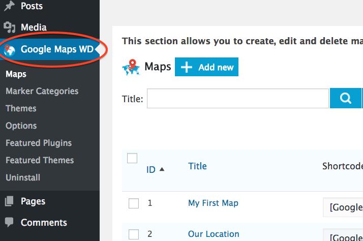Bluehost Select Google map