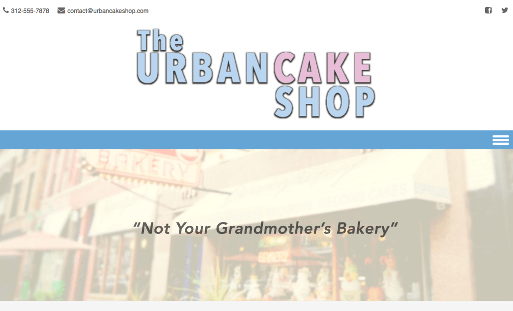 Bluehost Urban Cake Shop Page