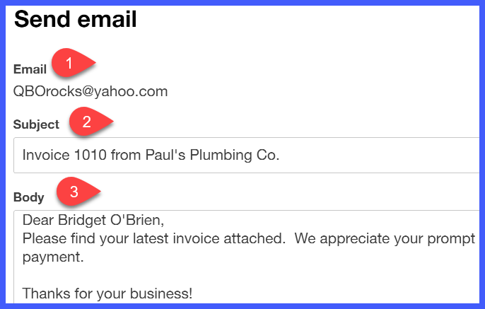 How To Create And Send Invoices In QuickBooks Online - How to email an invoice