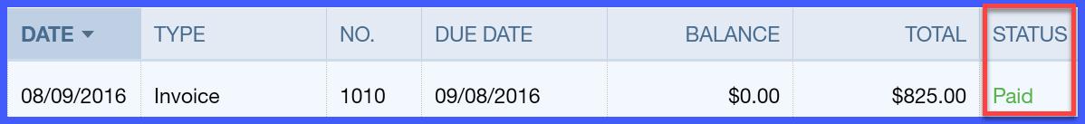 Invoice Status QuickBooks Online