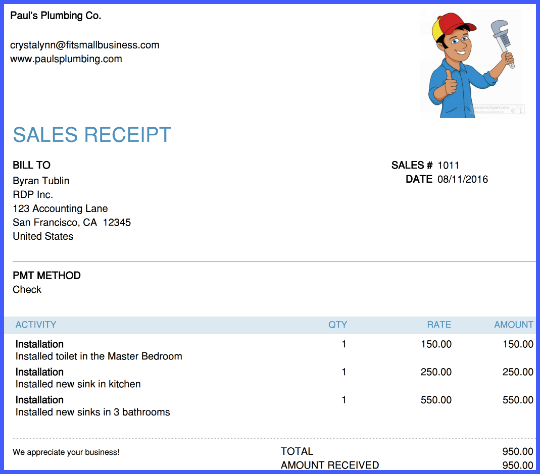 sales receipt example QuickBooks Online