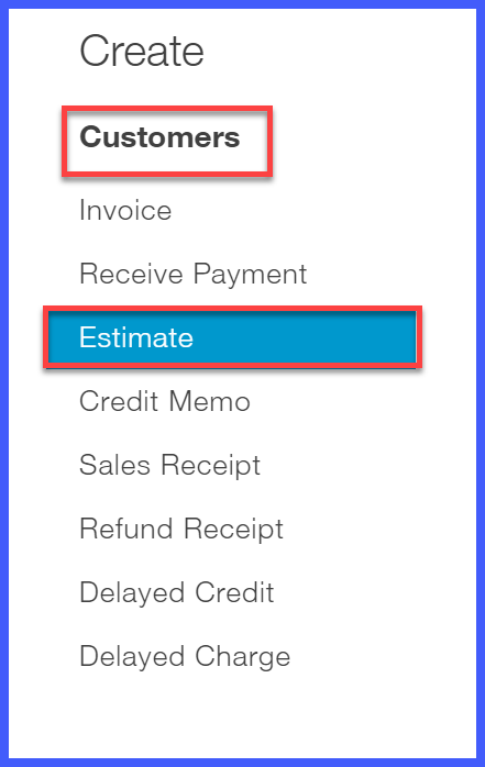 estimates in quickbooks online