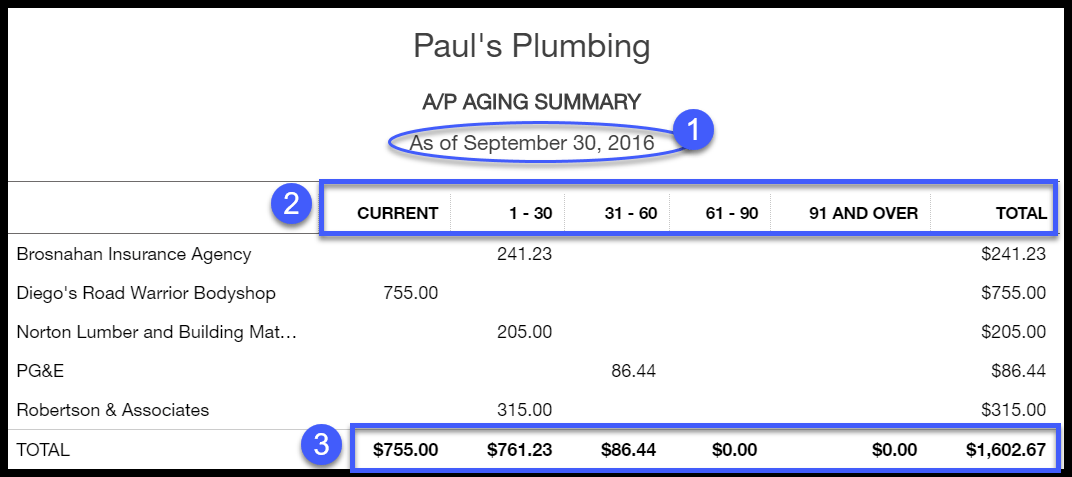QuickBooks Accounts Payable Aging Report Sample