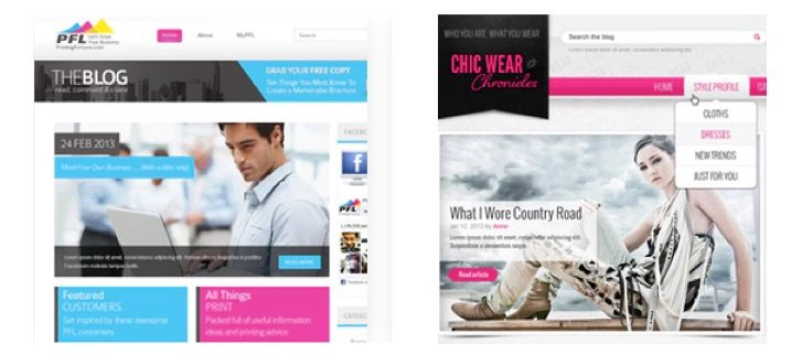 Examples of websites designed on 99designs