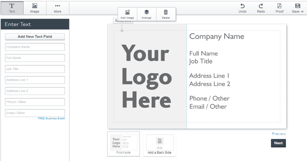 Screenshot of Vistaprint's Business Card Editor