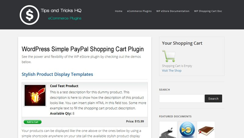 Wordpress ecommerce plugin - Simple PayPal Shipping Cart
