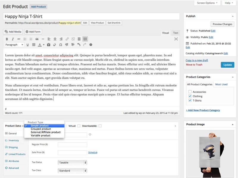 Wordpress ecommerce product setup - WooCommerce