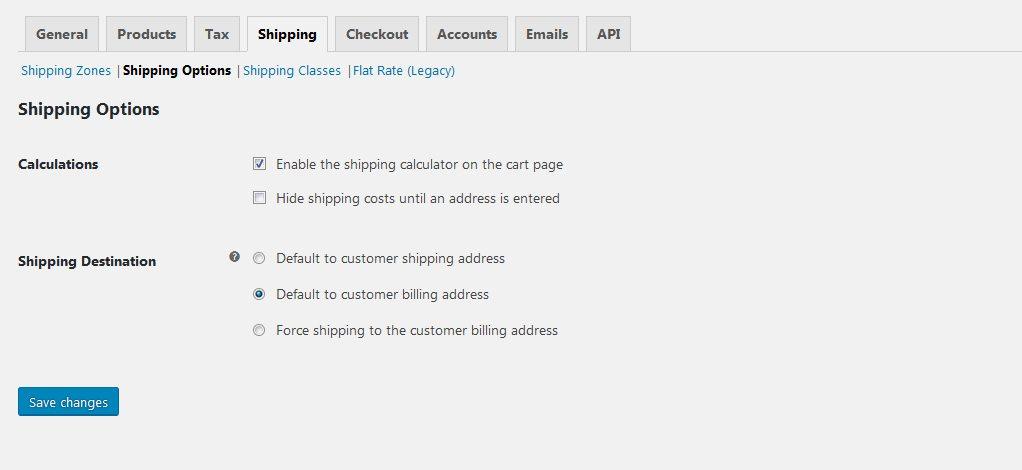 Wordpress ecommerce shipping setup - WooCommerce