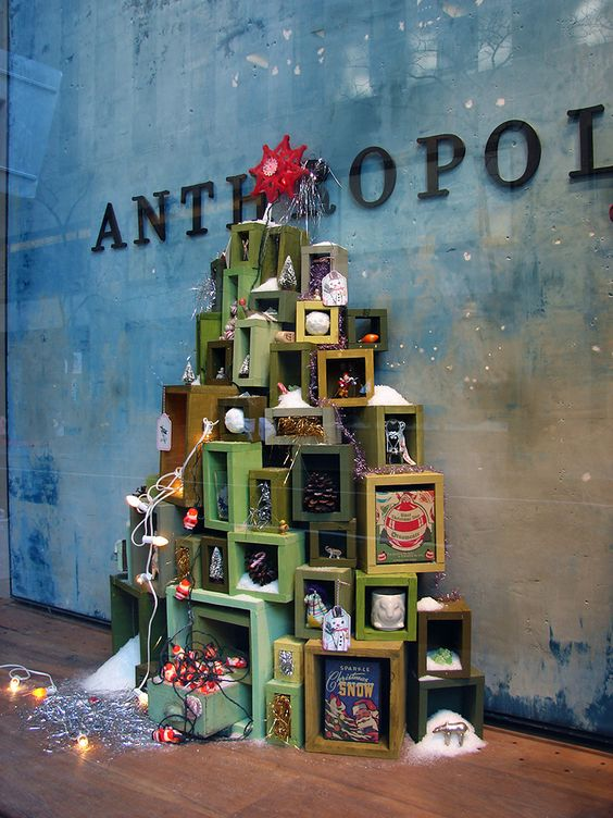 Anthropologie Box Tree Christmas Displays