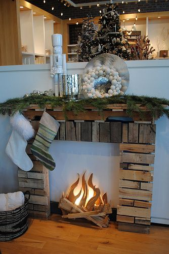 Faux Fireplace Christmas Displays
