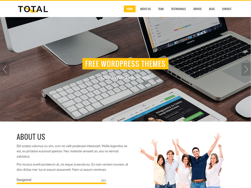 Example of free WordPress theme
