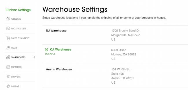 warehouse settings Ordoro.com