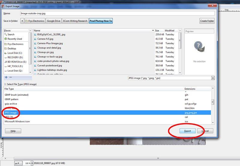 Product photography editing - saving files using Gimp software