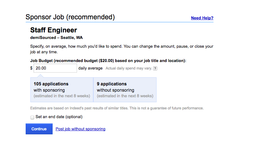 Indeed job posting