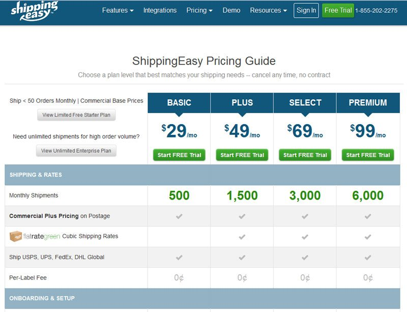 Best ecommerce shipping software comparison - ShippingEasy pricing