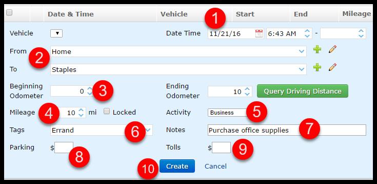 TripLog Mileage App Dashboard