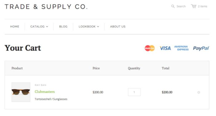 Accept online credit card payments on a Shopify website - shopping cart