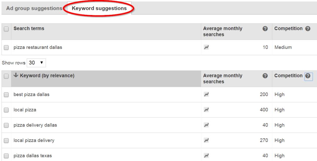 Bing Ads Keyword Suggestions