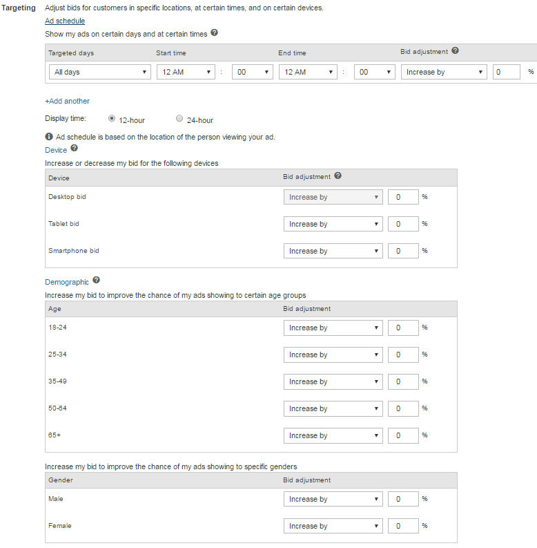 Bing Ads Targeting Options