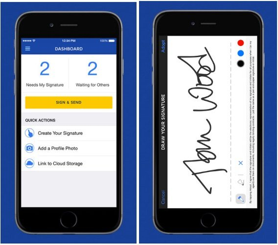 electronic signature app article- dosusign iphone screenshot