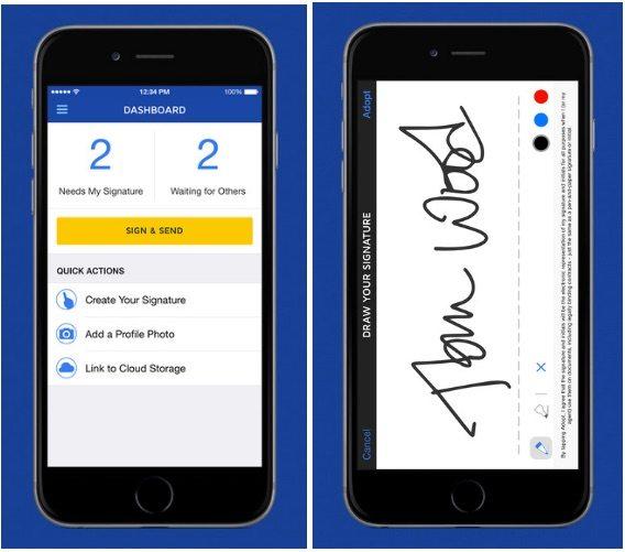 electronic signature app article- dosusign iphone screenshot