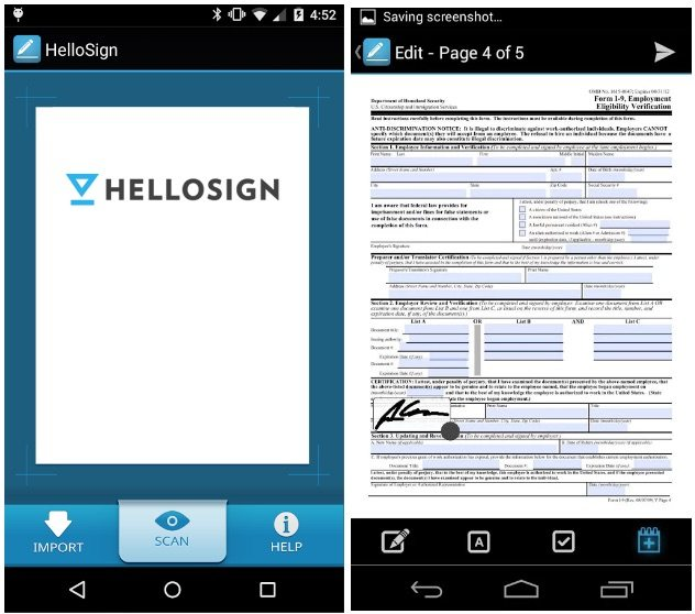 electronic signature app article- hellosign iphone screenshot
