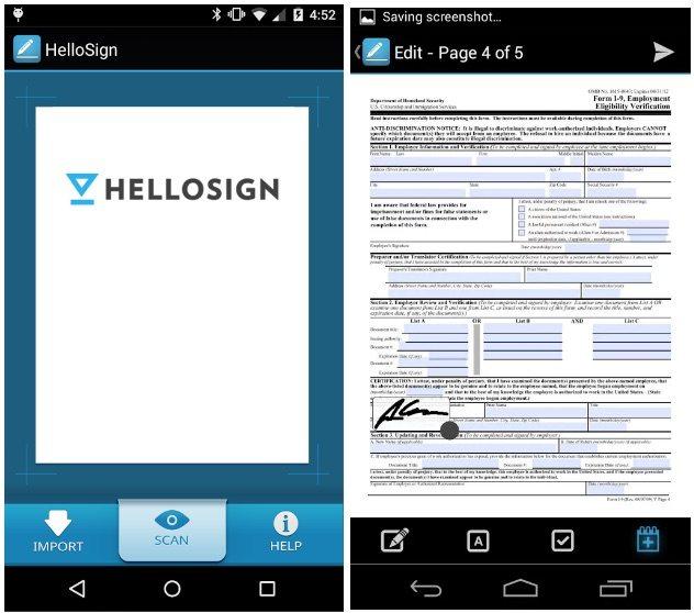 electronic signature app article- hellosign iphone screenshot