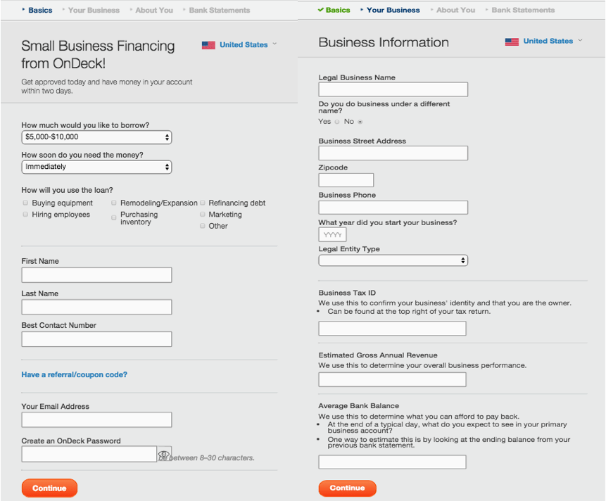 OnDeck business line of credit online application