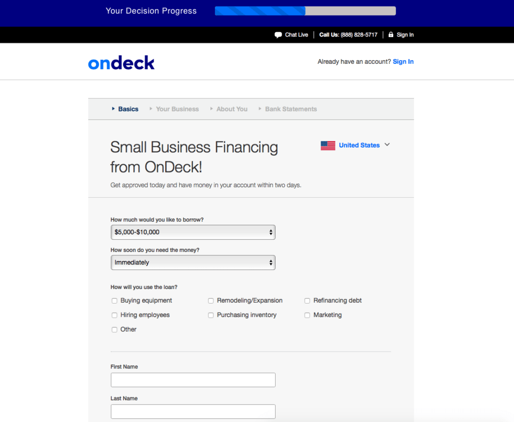 OnDeck business line of credit easy application