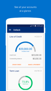 OnDeck business line of credit mobile app view balance