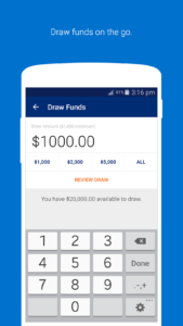 OnDeck business line of credit account draws from mobile app